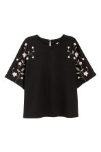 Top with embroidery - Black - Ladies | H&M IE 1