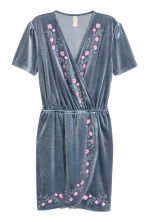 Velour wrap dress - Pigeon blue -  | H&M CN 1