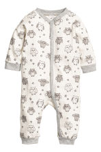 2-pack jersey pyjama suits - Natural white/Owl - Kids | H&M CN 2