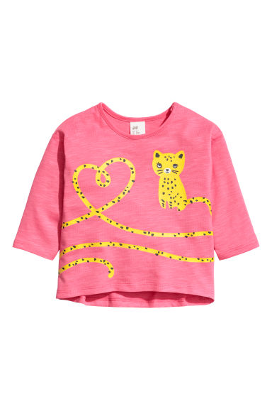 Printed jersey top - Pink/Jaguar - Kids | H&M CN