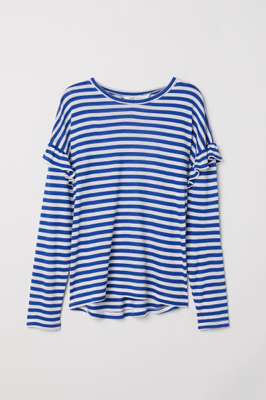 Top with flounces - Blue/White striped -  | H&M CN