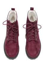 Pile-lined boots - Burgundy - Ladies | H&M CN 2