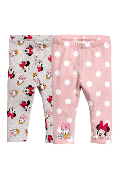 Set van 2 leggings - Poederroze/Minnie Mouse -  | H&M BE