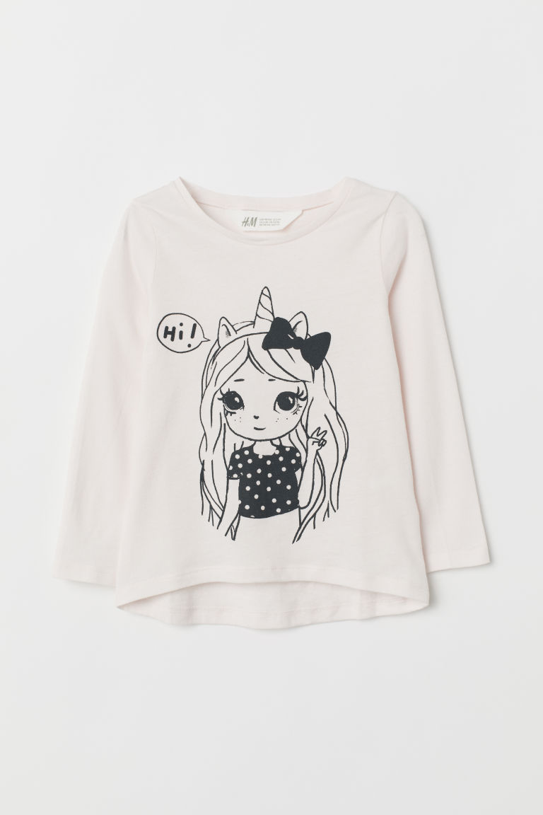 Top with a motif - Powder pink/Girl - Kids | H&M GB