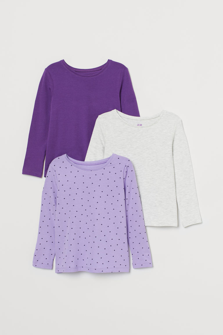 3-pack long-sleeved tops - Purple/Hearts - Kids | H&M GB