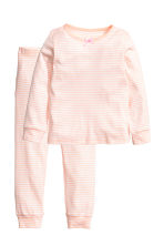 Jersey pyjamas - Powder pink/White striped - Kids | H&M CN 1