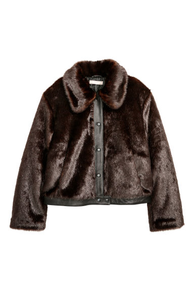 Faux fur jacket - Dark brown - Ladies | H&M