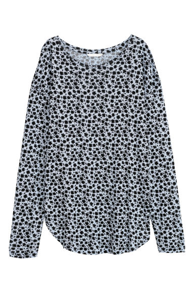 Long-sleeved jersey top - Light blue/Patterned - Ladies | H&M