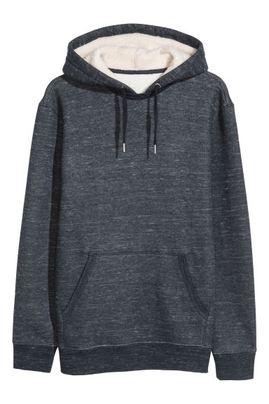 Pile-lined hooded top - Dark blue marl - Men | H&M