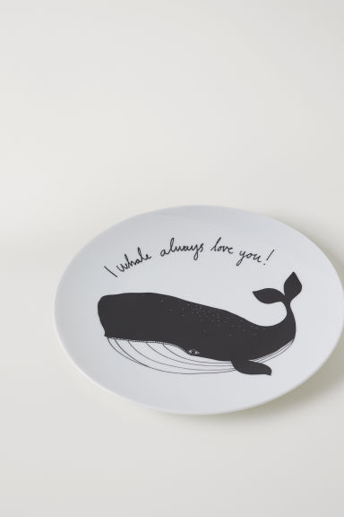Small porcelain plate - White/Black - Home All | H&M IE