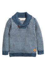 Shawl-collar jumper - Blue/White striped - Kids | H&M CN 2