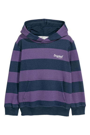 Hooded top - Purple/Striped - Kids | H&M CN