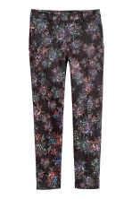 Patterned cigarette trousers - Black/Small floral - Ladies | H&M IE 2