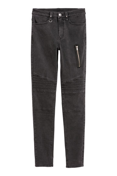 Biker trousers - Black washed out - Ladies | H&M