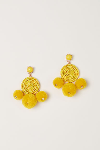 Pompom earrings - Yellow - Ladies | H&M