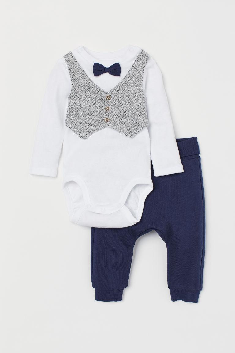 Bodysuit and trousers - Dark blue -  | H&M GB