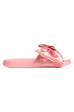 Slippers with a bow - Light pink - Ladies | H&M 1