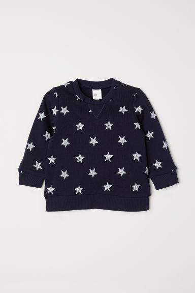 Cotton sweatshirt - Dark blue/Stars - Kids | H&M CN