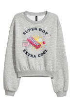Sweat-shirt avec motif - Gris clair chiné -  | H&M BE 1