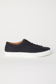Cotton and Leather Sneakers