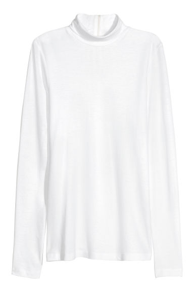 Cotton polo-neck top - White - Ladies | H&M