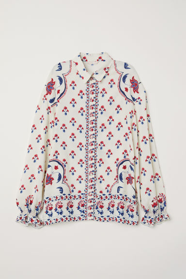 Patterned blouse - Cream/Patterned - Ladies | H&M