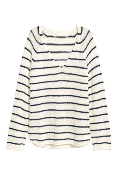 Loose-knit jumper - White/Blue striped -  | H&M