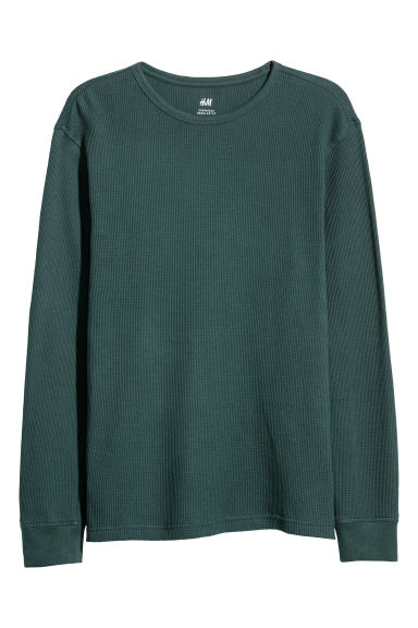 Waffled top - Dark green -  | H&M
