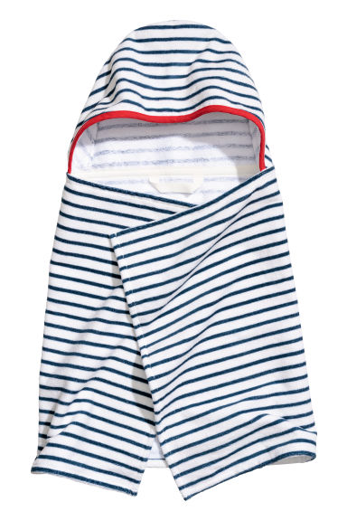 Hooded towel - White/Blue striped -  | H&M