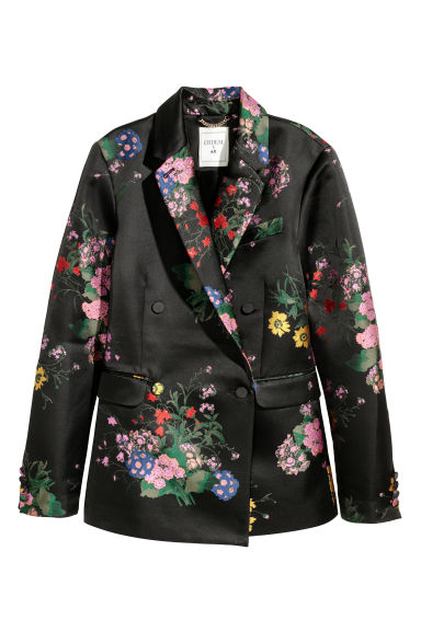 Jacquard-patterned jacket - Black/Floral - Ladies | H&M IE 1