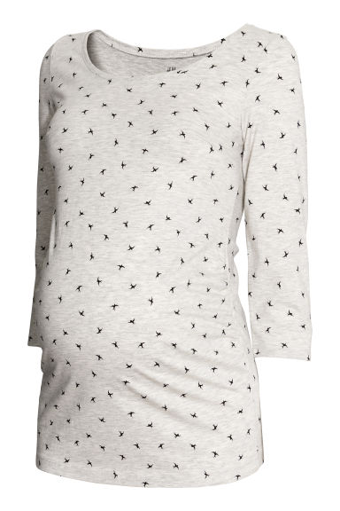 MAMA Cotton jersey top - Grey marl/Swallows - Ladies | H&M