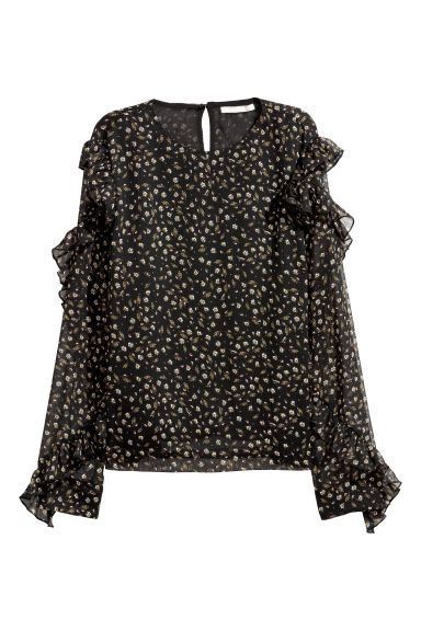 Flounced blouse - Black/Floral - Ladies | H&M CN