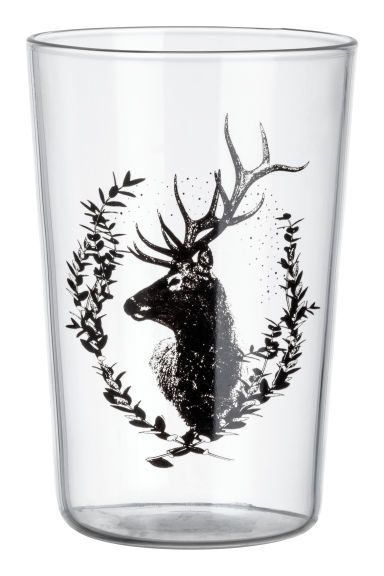 Tumbler with a print motif - Clear glass/Deer - Home All | H&M CN