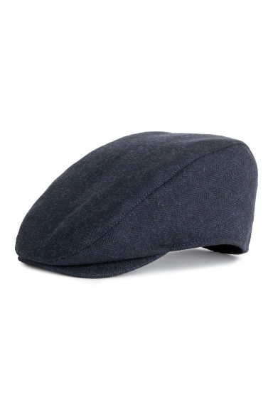 Wool-blend flat cap - Dark blue - Men | H&M GB