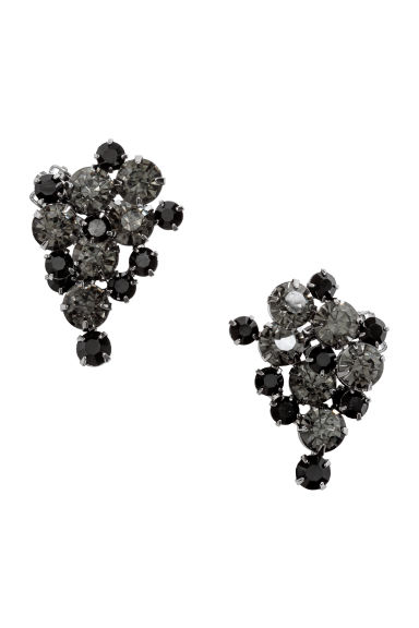 Sparkly clip earrings - Black - Ladies | H&M IE 1