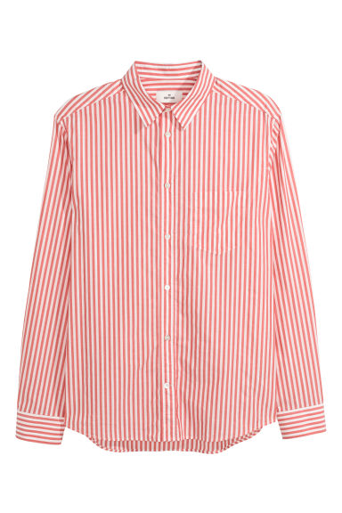 Poplin shirt - Red/White striped -  | H&M