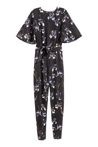 Jumpsuit - Black/Floral - Ladies | H&M