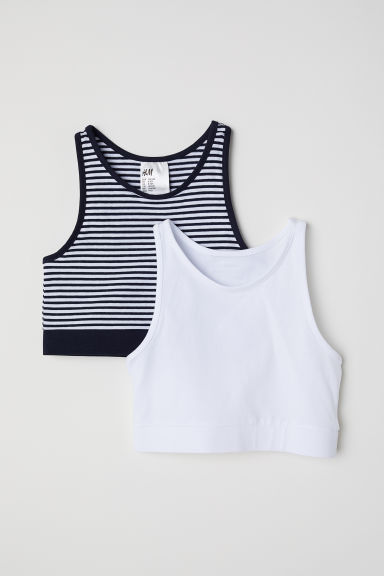 2-pack tops - White/Striped - Kids | H&M CN
