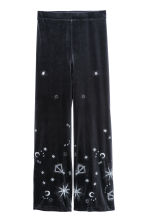 Flared velour trousers - Dark blue - Ladies | H&M CN 2