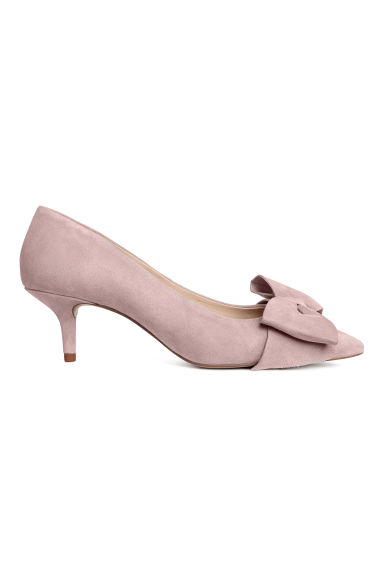 Court shoes with a bow - Powder pink/Suede - Ladies | H&M