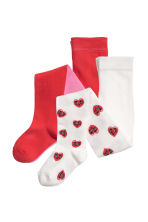 2-pack tights - Pink/Hearts - Kids | H&M CN 1