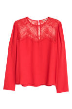 H&M+ Blouse with a lace yoke - Red - Ladies | H&M 2