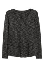 Long-sleeved jersey top - Black/White marl - Ladies | H&M CN 2