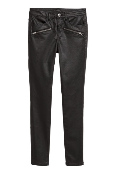 Coated biker trousers - Black - Ladies | H&M CN