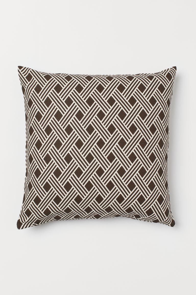 Cotton canvas cushion cover - Dark brown - Home All | H&M GB