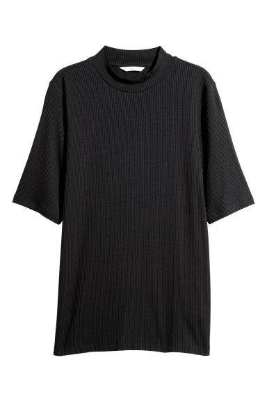 Ribbed turtleneck top - Black - Ladies | H&M 1