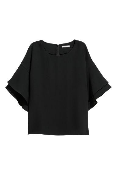 Blusa com mangas de folho - Preto - SENHORA | H&M PT