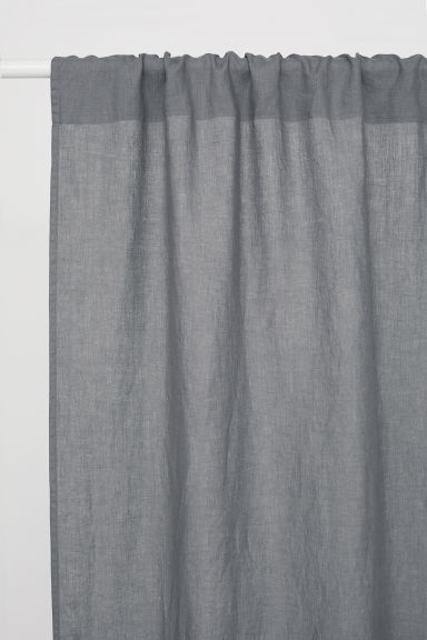 Washed linen curtain length - Grey -  | H&M CN
