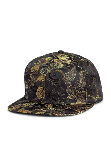 Jacquard-weave cap - Black/Gold-coloured - Men | H&M