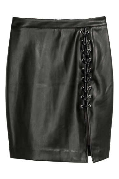 Imitation leather skirt - Black -  | H&M 1